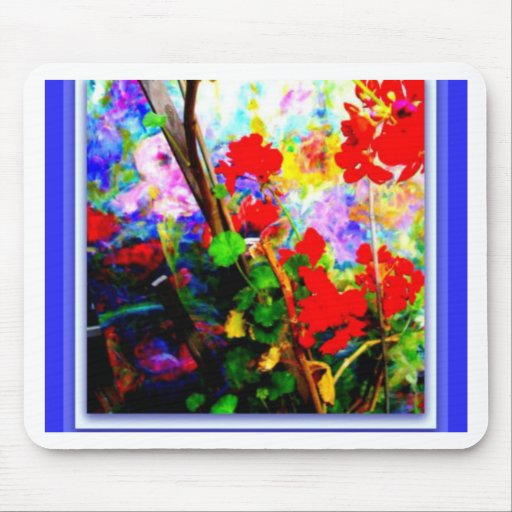 Red Geraniums & Blue By Sharles Mouse Pad