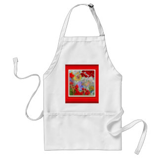 Red Geraniums Garden by Sharles Adult Apron