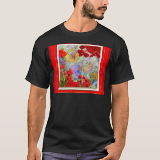 Red Geraniums Garden by Sharles T-Shirt