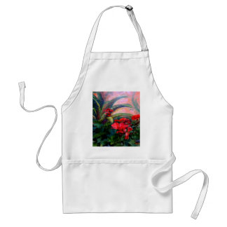 Red Geraniums Garden Still Life Painting Adult Apron