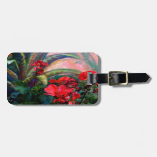 Red Geraniums Garden Still Life Painting Luggage Tag