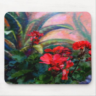 Red Geraniums Garden Still Life Painting Mouse Pad