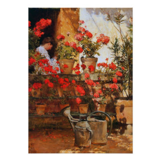 Red Geraniums Impressionism Poster