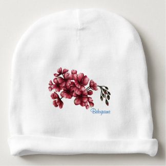 Red Geraniums Personalized Baby Beanie