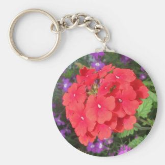 Red Geraniums Up Close Keychain