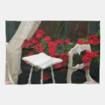 Red Geraniums White Chair Towel