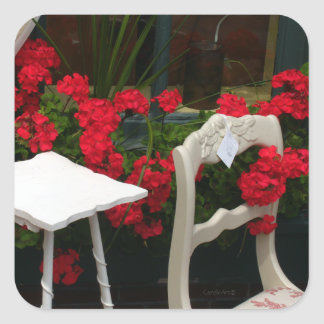 Red Geraniums White Door Square Sticker