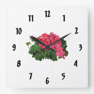 Red Geraniums with Buds Square Wall Clocks