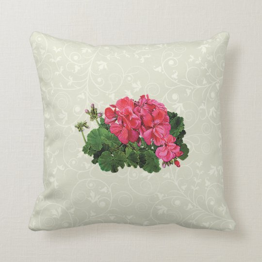 Red Geraniums with Buds Throw Pillow