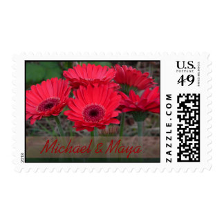 red gerber daisies 1 personalizable postage stamp