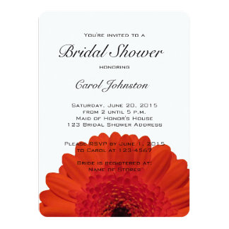 Red Gerber Daisy Bridal Shower Invitation