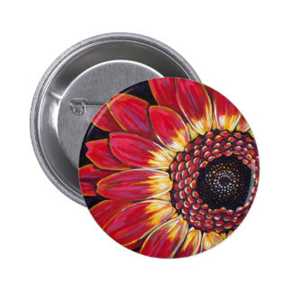 RED GERBER DAISY 2 INCH ROUND BUTTON