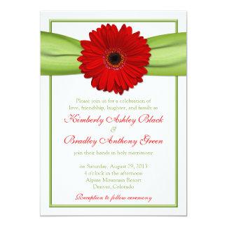"Red Gerber Daisy Green Ribbon Wedding Invitation 5"" X 7"" Invitation Card"
