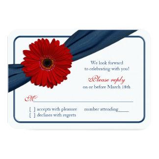 Red Gerber Daisy Navy Blue Ribbon Wedding RSVP 3.5x5 Paper Invitation Card
