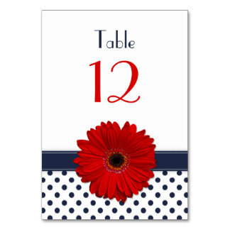 Red Gerber Daisy Navy Blue White Polka Dot Wedding Card