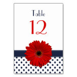Red Gerber Daisy Navy Blue White Polka Dot Wedding Table Cards