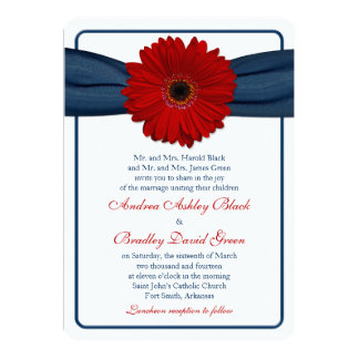 Red Gerber Daisy Navy Ribbon Wedding Invitation