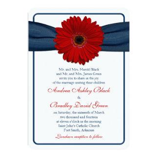 Red Gerber Daisy Navy Ribbon Wedding Invitation