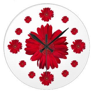 Red Gerber Daisy Photographs Clocks