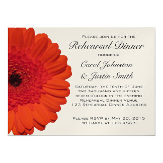 Red Gerber Daisy Rehearsal Dinner Invitation