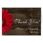 Red Gerber Daisy Rustic Wedding Thank You Cards
