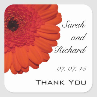 Red Gerber Daisy Thank You Wedding Favor Stickers