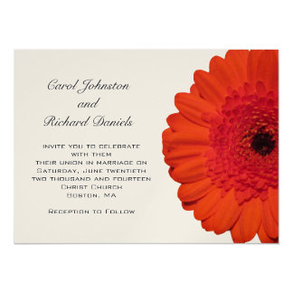 Red Gerber Daisy Wedding Invitation