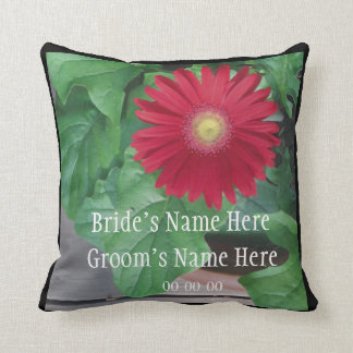 Red Gerber Daisy wedding personalize names Throw Pillows