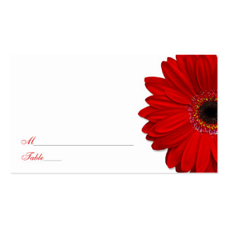 Red Gerber Daisy Wedding Place Cards Double-Sided Standard Business Cards (Pack Of 100)