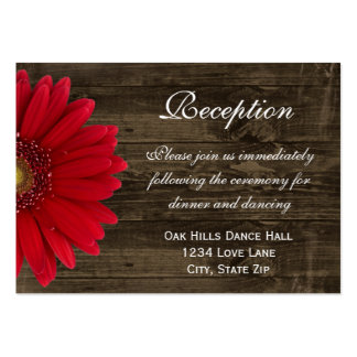 Red Gerber Daisy Wedding Reception Direction Card Large Business Card