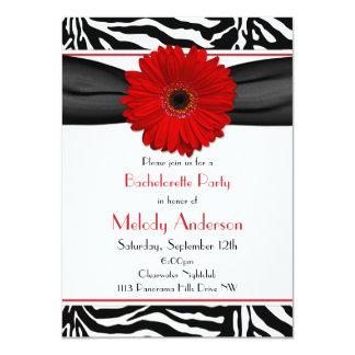 "Red Gerber Daisy Zebra Print Bachelorette Party 4.5"" X 6.25"" Invitation Card"