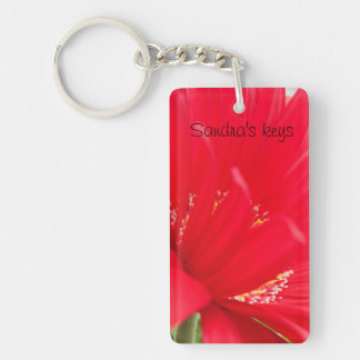 Red Gerber Gerbera daisy create your own Keychain