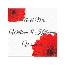 Red Gerbera Custom Mr Mrs Canva Wedding Decoration Canvas Print