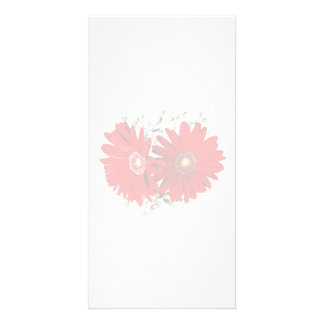 Red Gerbera Daisies and Stephanotis Personalized Photo Card