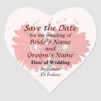 Red Gerbera Daisies and Stephanotis Save the Date Heart Sticker