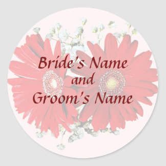 Red Gerbera Daisies and Stephanotis Save the Date Round Stickers