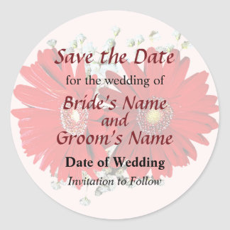Red Gerbera Daisies and Stephanotis Save the Date Stickers