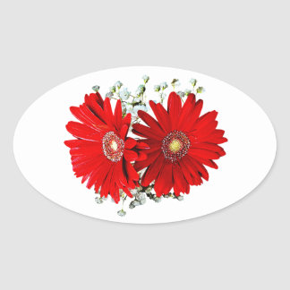 Red Gerbera Daisies and Stephanotis Oval Stickers