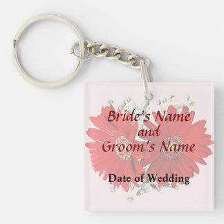 Red Gerbera Daisies and Stephanotis Wedding Favors Keychain