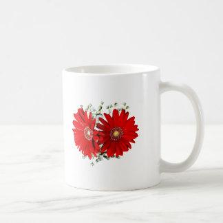 Red Gerbera Daisies and Stephanotis Wedding Favors Classic White Coffee Mug