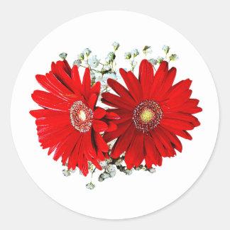 Red Gerbera Daisies and Stephanotis Wedding Favors Stickers