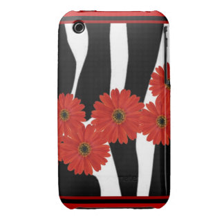 RED GERBERA DAISIES AND ZEBRA PRINT iPhone 3 CASES