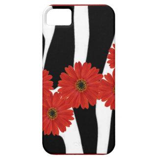 RED GERBERA DAISIES AND ZEBRA PRINT iPhone SE/5/5s CASE