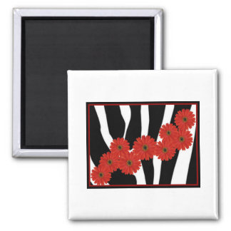 RED GERBERA DAISIES ON ZEBRA PRINT 2 INCH SQUARE MAGNET