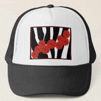 RED GERBERA DAISIES ON ZEBRA PRINT TRUCKER HAT
