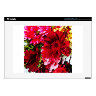 """Red Gerbera Daisy Abstract 15"""" Laptop Skins"""