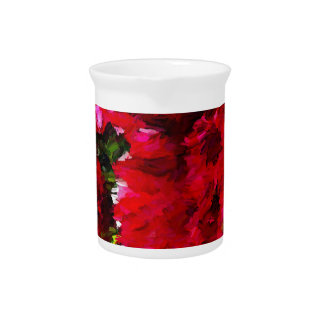 Red Gerbera Daisy Abstract Beverage Pitcher