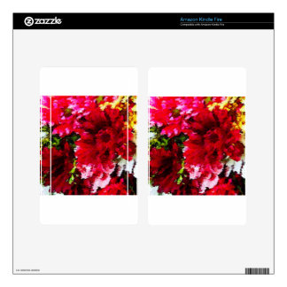 Red Gerbera Daisy Abstract Kindle Fire Skin