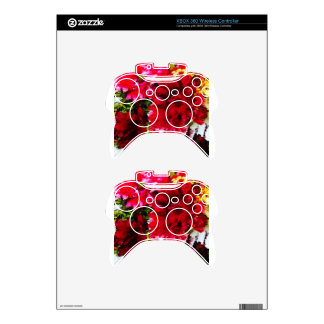 Red Gerbera Daisy Abstract Xbox 360 Controller Skins
