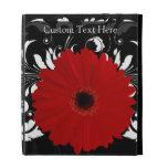 Red Gerbera Daisy, Black and White iPad Folio Case